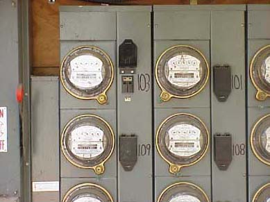 Multi family meters bank properly labeled with unit numbers