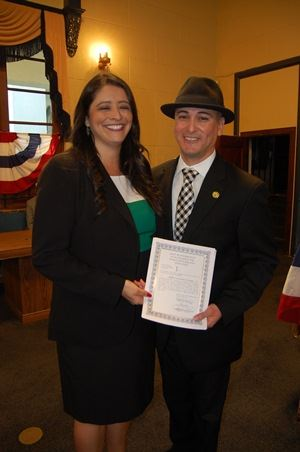 Jeffrery Cornejo at the swearing in for City Clerk with Liz