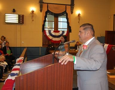 Robert Gonzales addressing the audience at swearing in