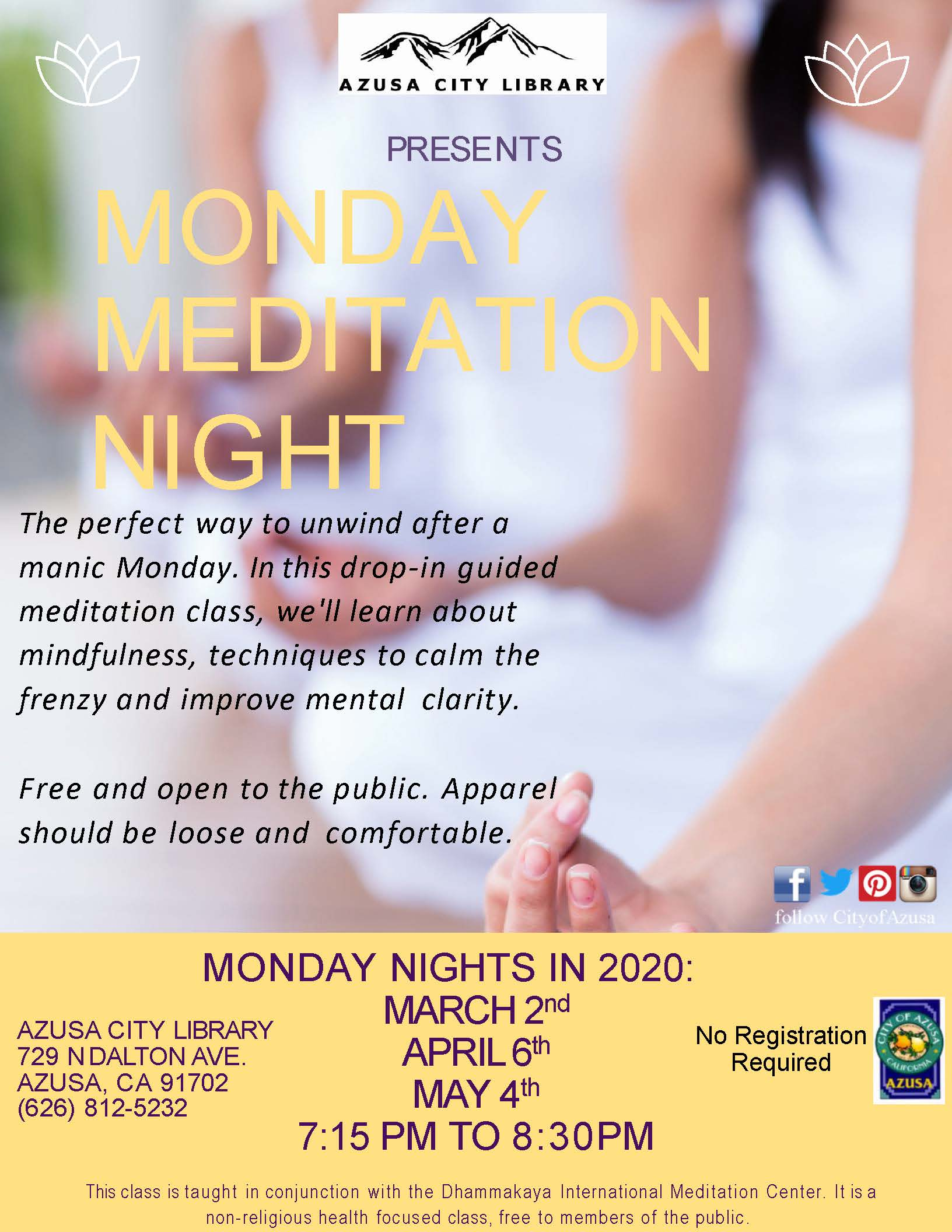 Monday Meditation Night 2020 Flyer